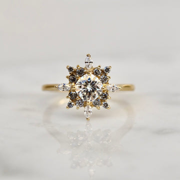 Sophia Ring - Moissanite and Grey Diamonds