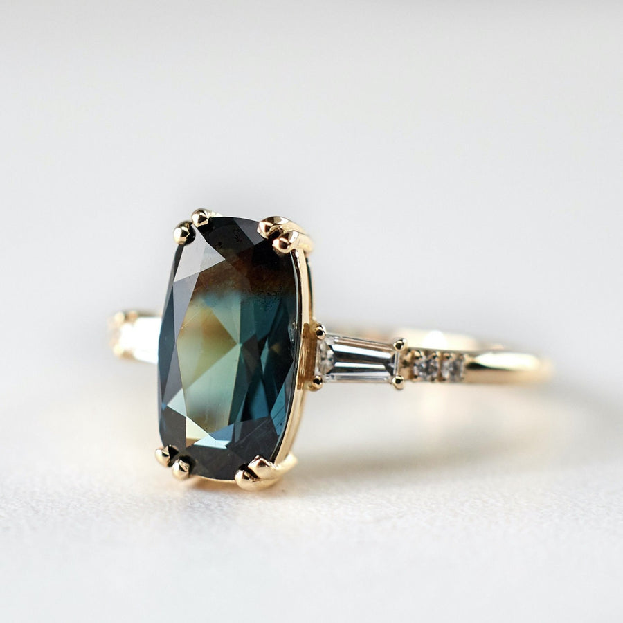 Sylvie Ring - 2.36ct. Elongated Cushion Cut, Teal Sapphire