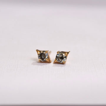 Emma Earrings - Yellow Gold + Salt and Pepper Diamonds