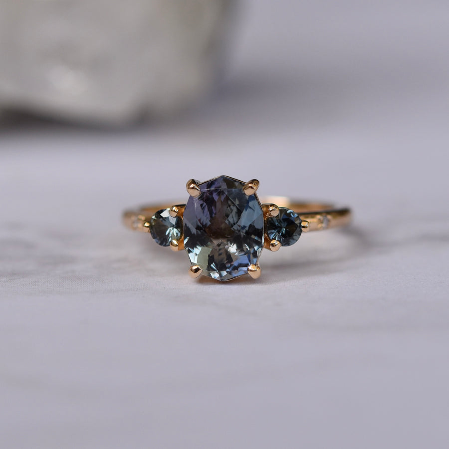 Clio Ring - Mermaid Tanzanite and Sapphire
