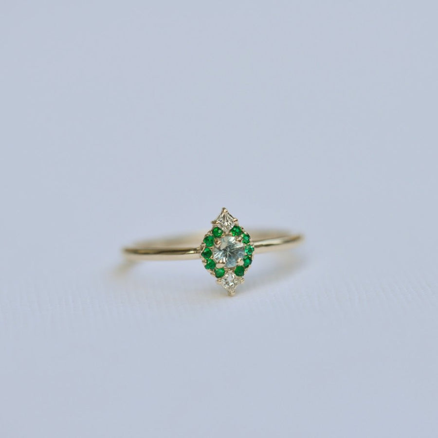 Brooklyn Ring with Emerald Halo