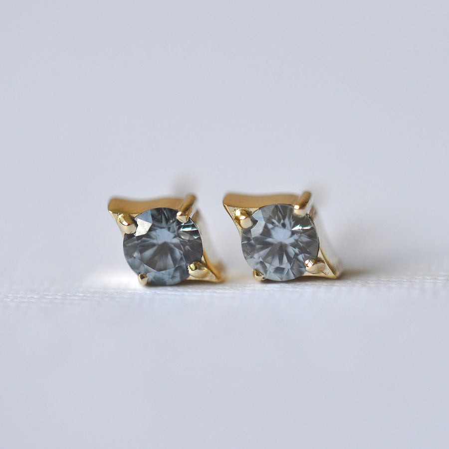 Emma Earrings - Yellow Gold + Blue Montana Sapphires