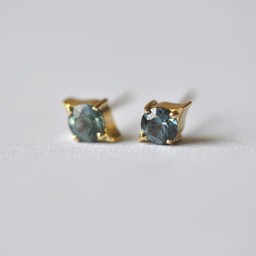 Emma Earrings - Yellow Gold + Teal Montana Sapphires