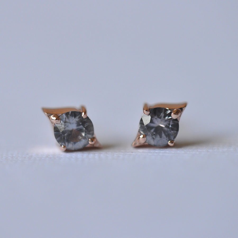 Emma Earrings - Rose Gold + Montana Sapphires