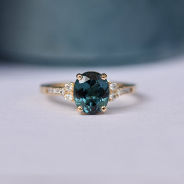 Teal tourmaline Marigold ring by Porter Gulch.