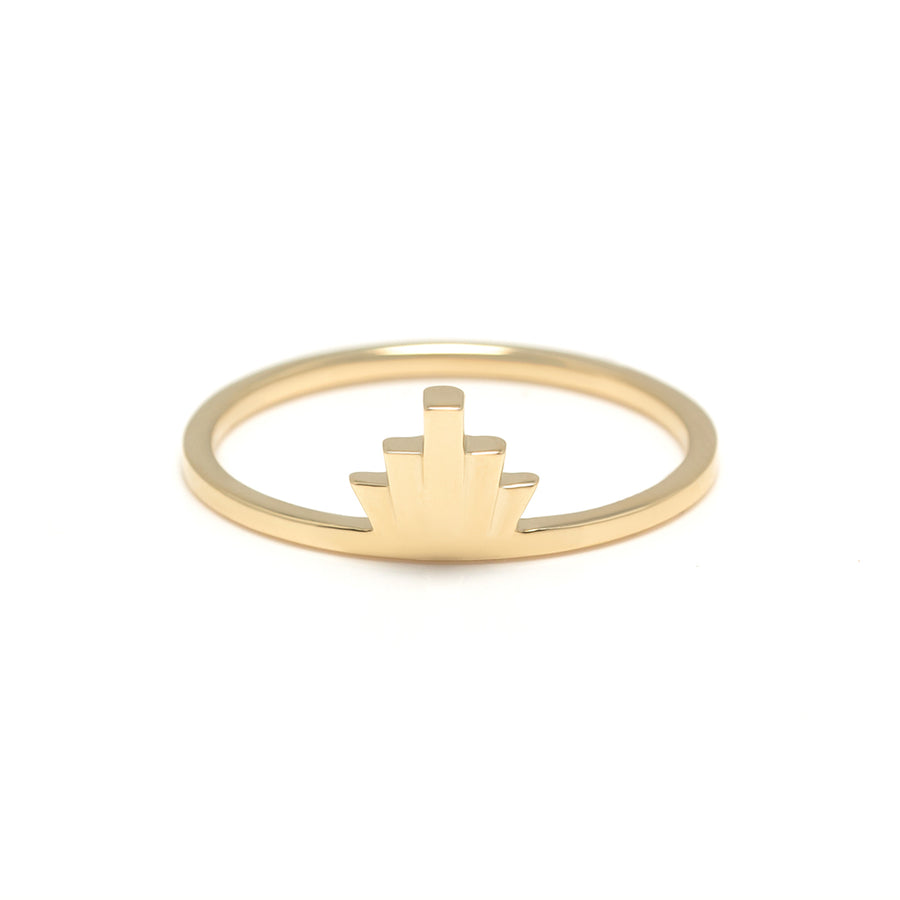The Victoria Ring is an Art Deco inspired gold ring made with a geometric fan pattern.