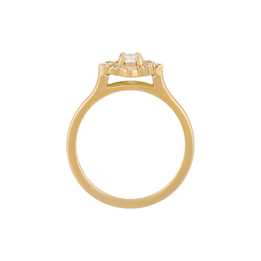 Side view of the Mirabelle Ring, a half-carat oval diamond ring with a halo of round and princess cut diamonds.