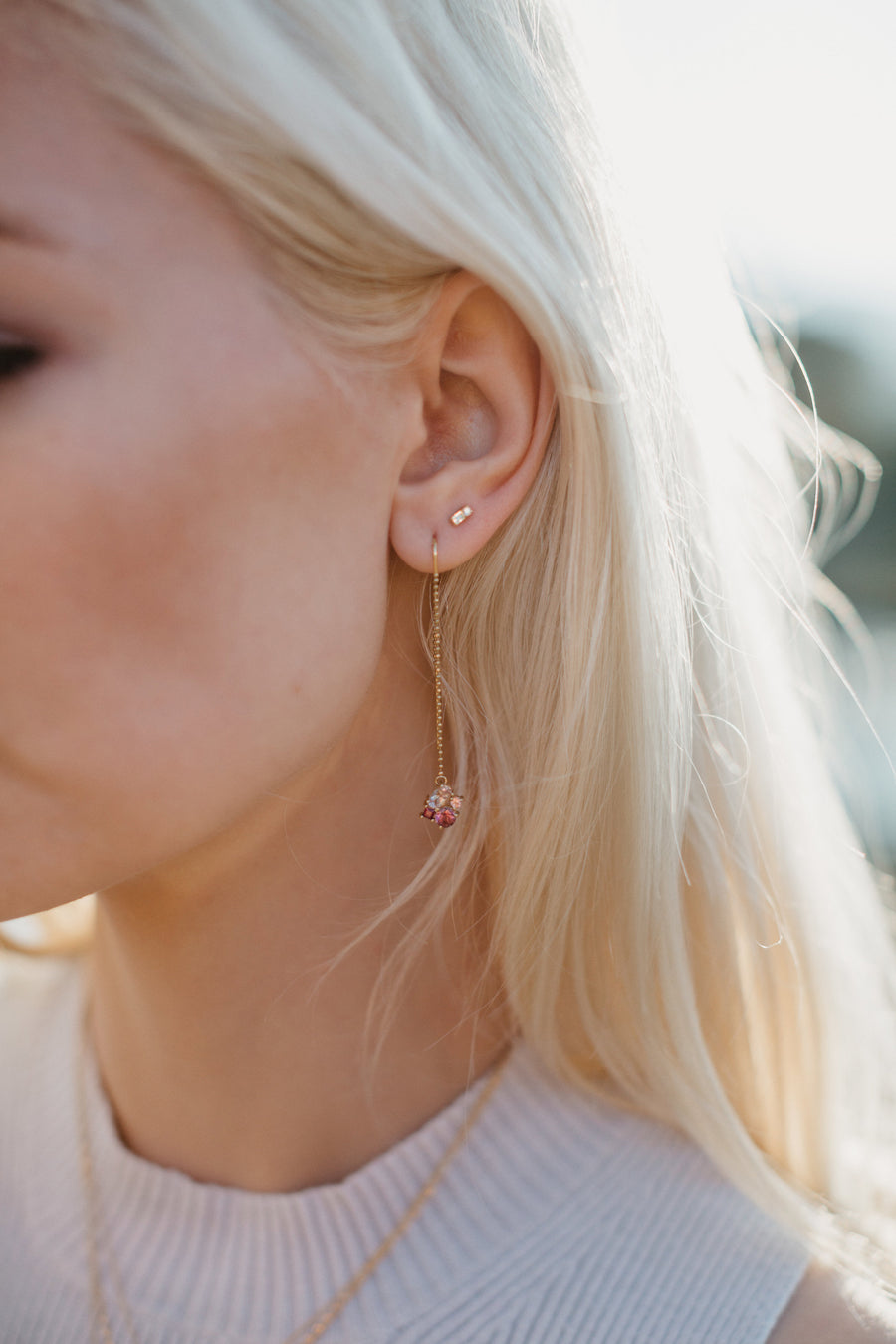 Shown here Haley is wearing the Livia Earrings with Frida Earrings.