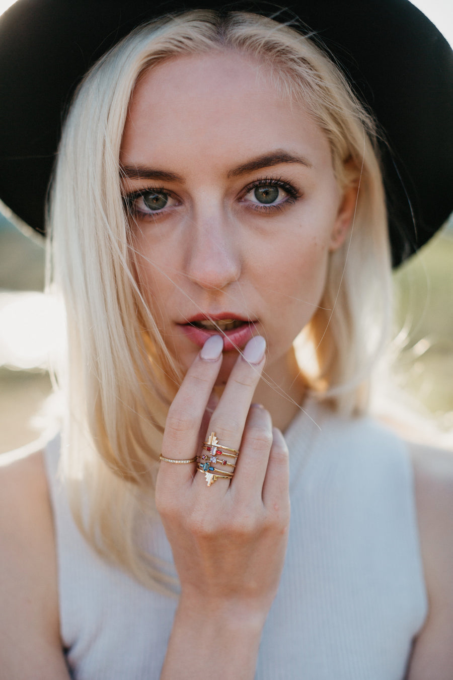 Haley is wearing the Sloane Ring stacked with the Victoria Ring, Kensley Ring and Samara Ring.