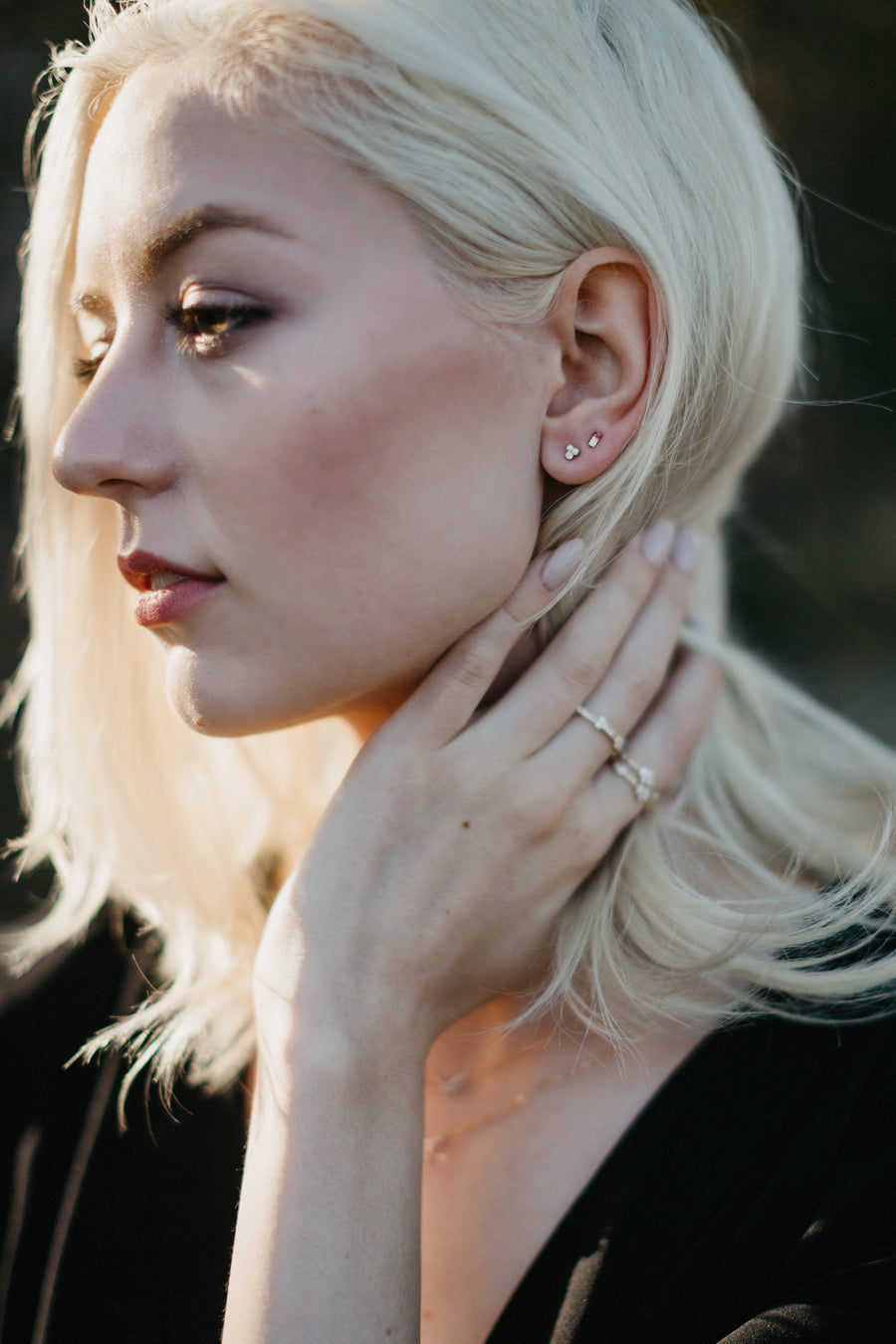Haley is wearing the Kimber and Ansley Earrings.