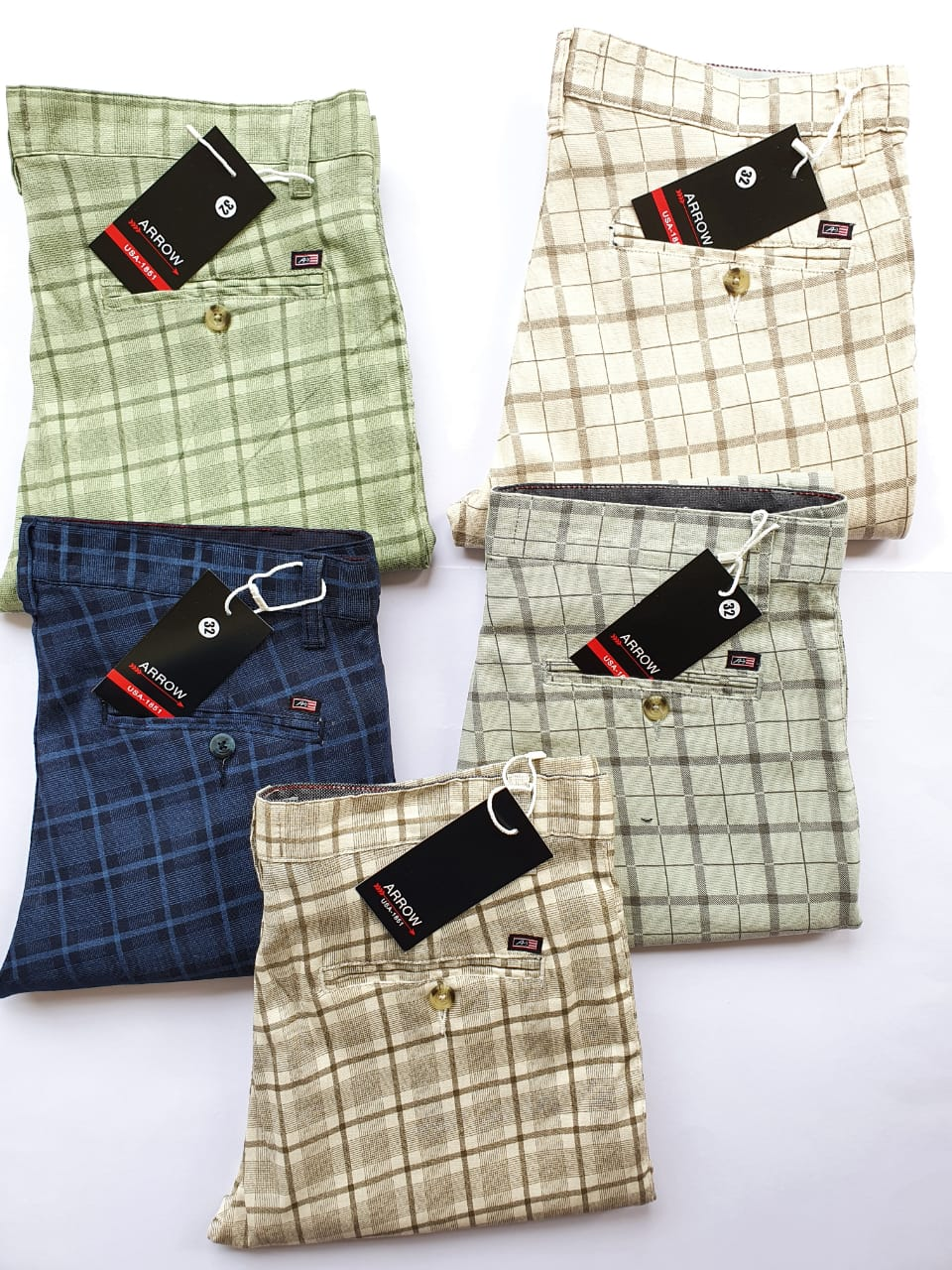 Men check cotton trouser