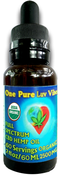 2500 MG One Pure Luv Full Spectrum CBD Oil USDA Certified Organic