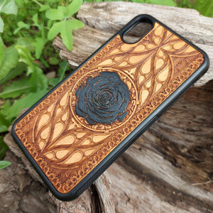 black rose iphone wood case