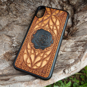 black rose phone wooden case