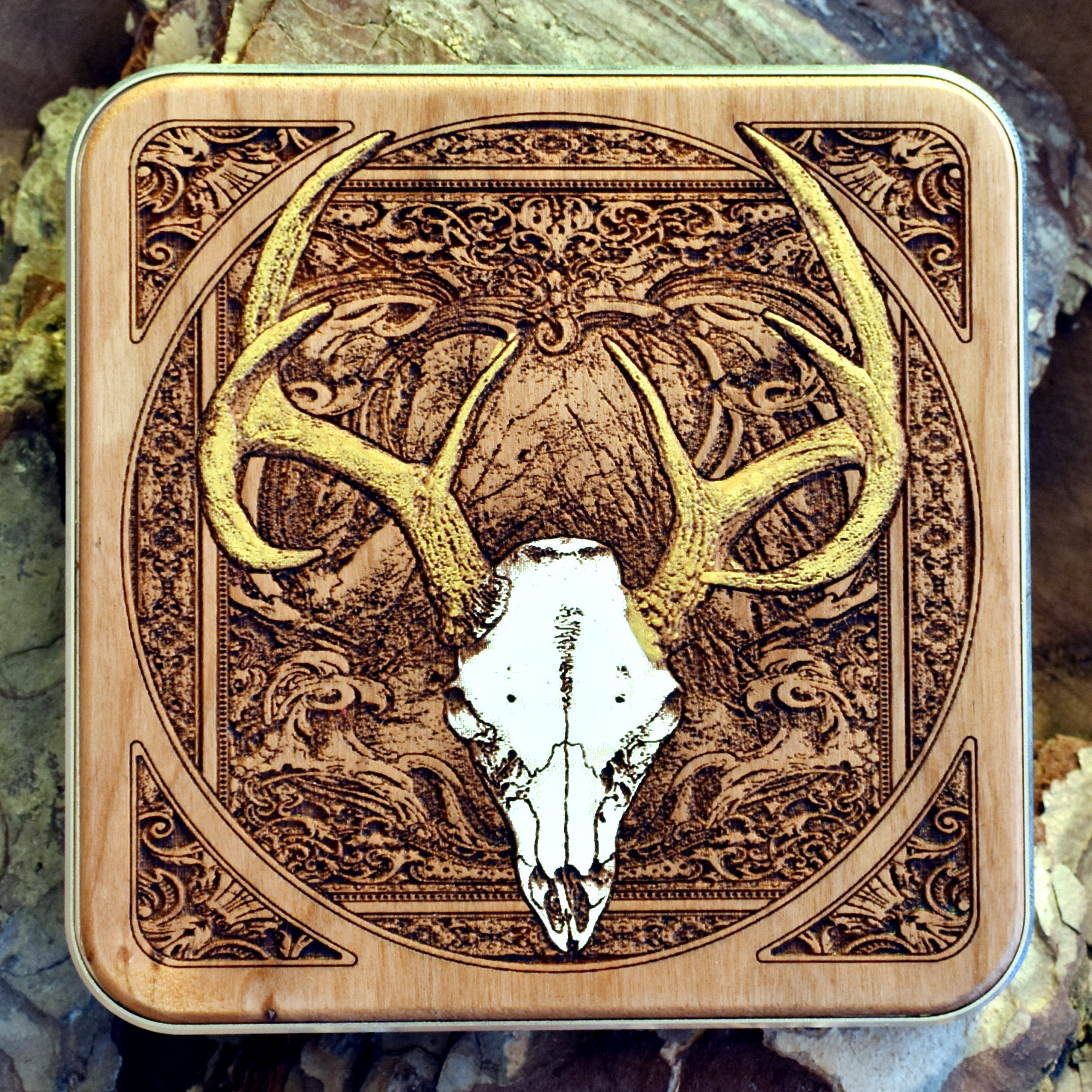 Deer Skull Wireless Charger Hand Painted