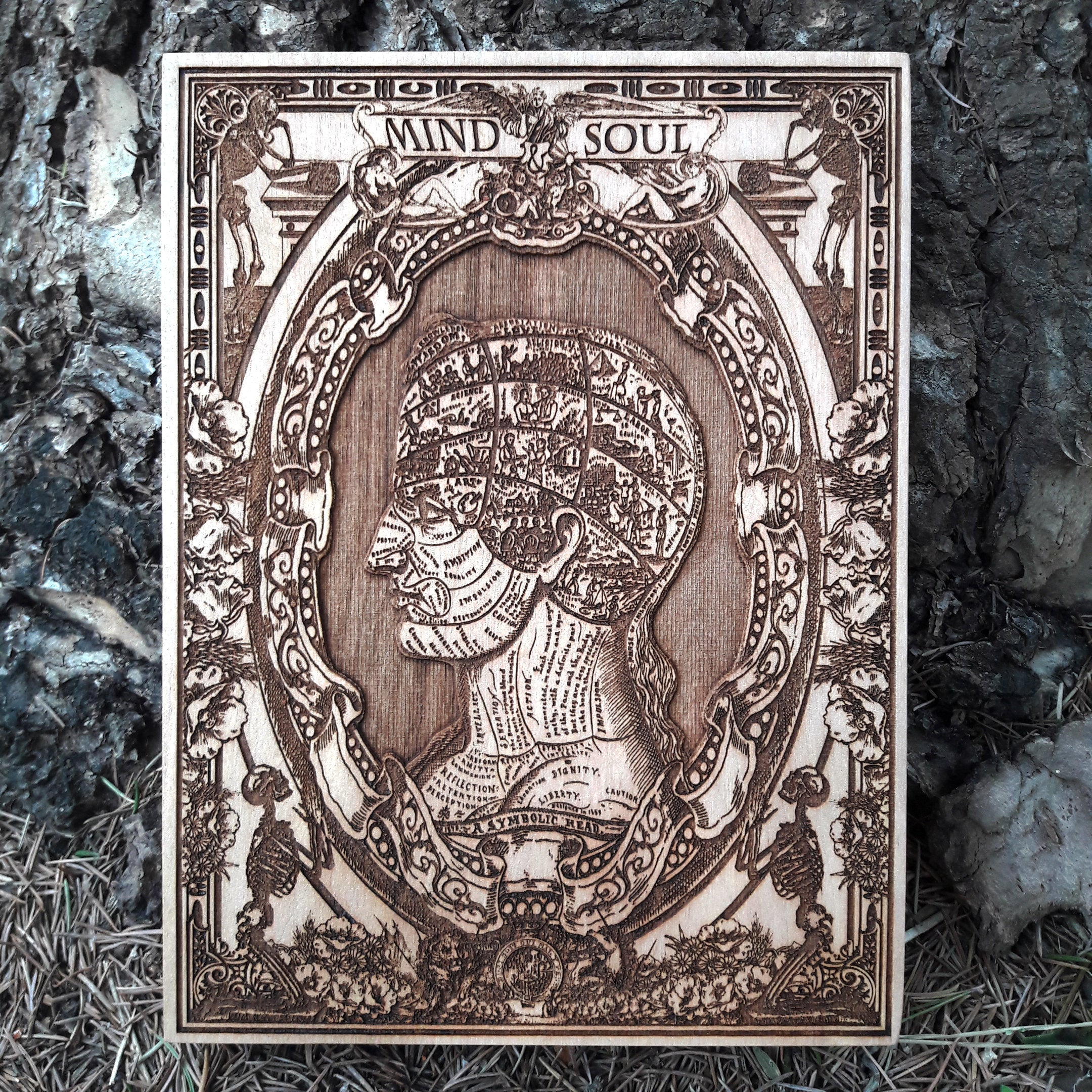 Symbolic Head Mini Woodcut