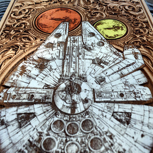 Star Wars Millennium Falcon Wood Art Hand Painted