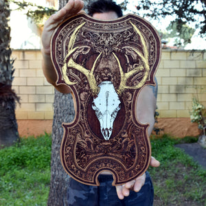 Deer Skull Wood Violin