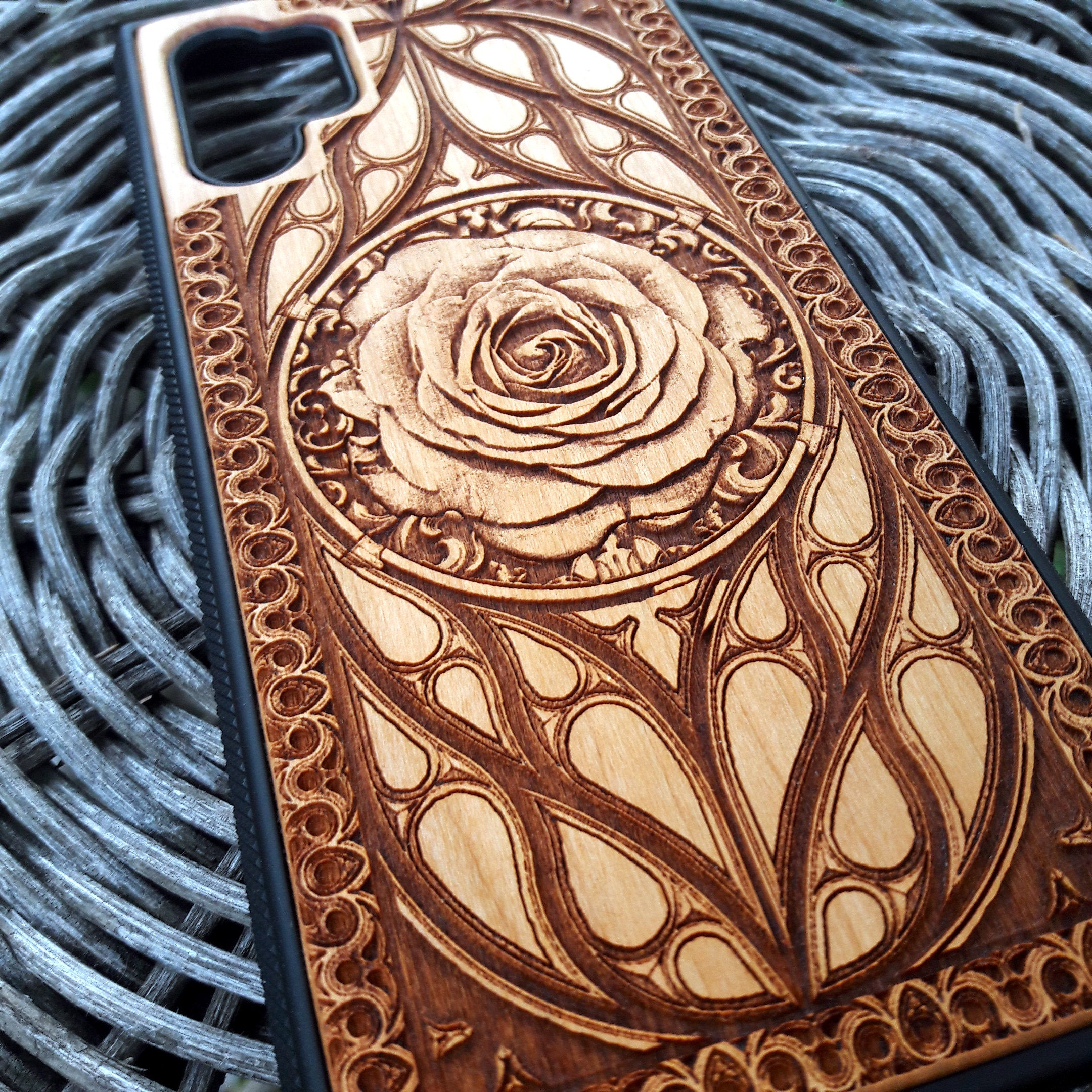 Rose iPhone 11 Case for Her - Galaxy S20 Ultra Plus Cell Cover - Unique Wood Phone Case for Women - Huawei P30 P20 Pro