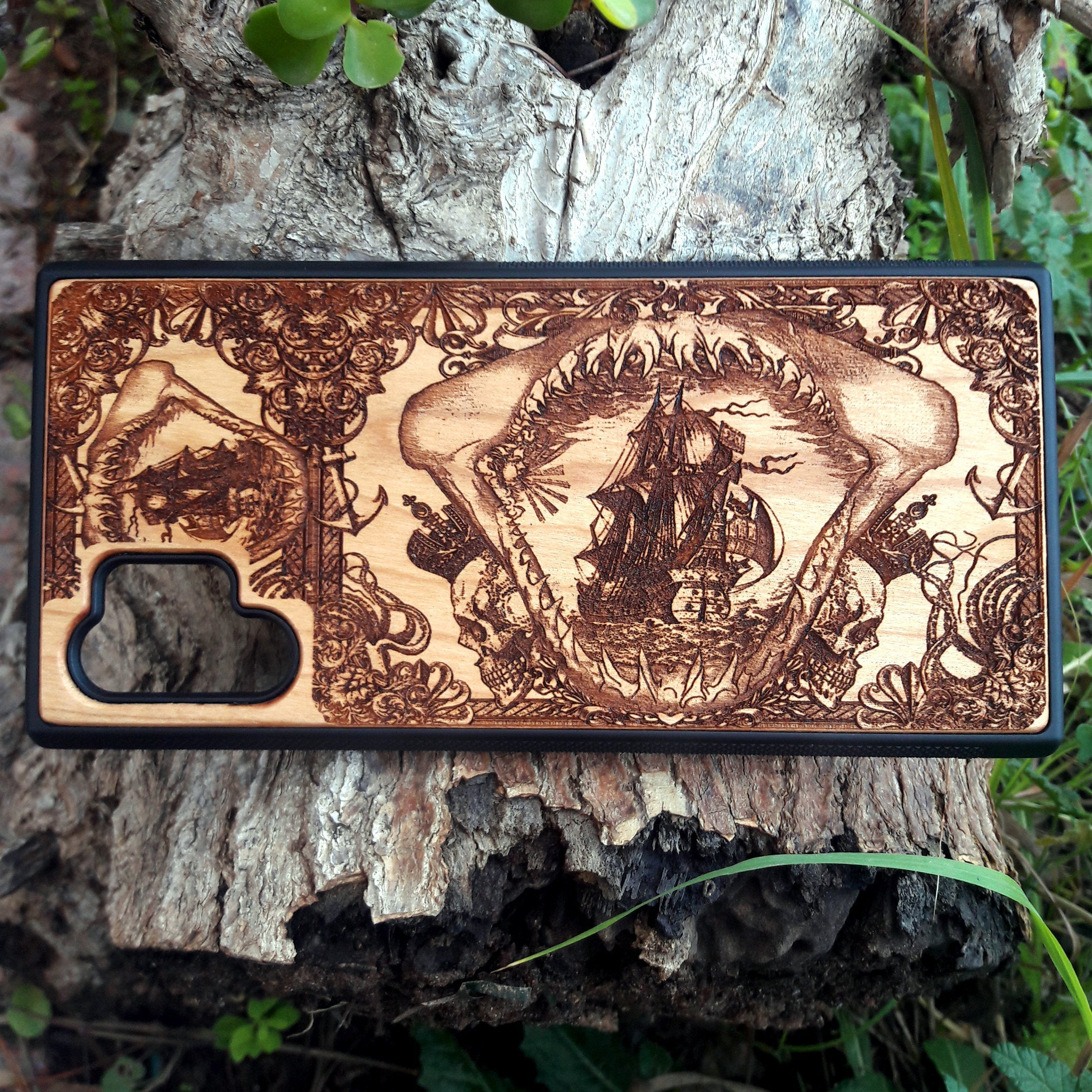 Phone Case iPhone 11 Pro Max Wood, Galaxy S20 Ultra S10 S9 Plus Wooden, Huawei P20 P30 Pro - Shark Jaw, Old Ship, Skulls, Pirates
