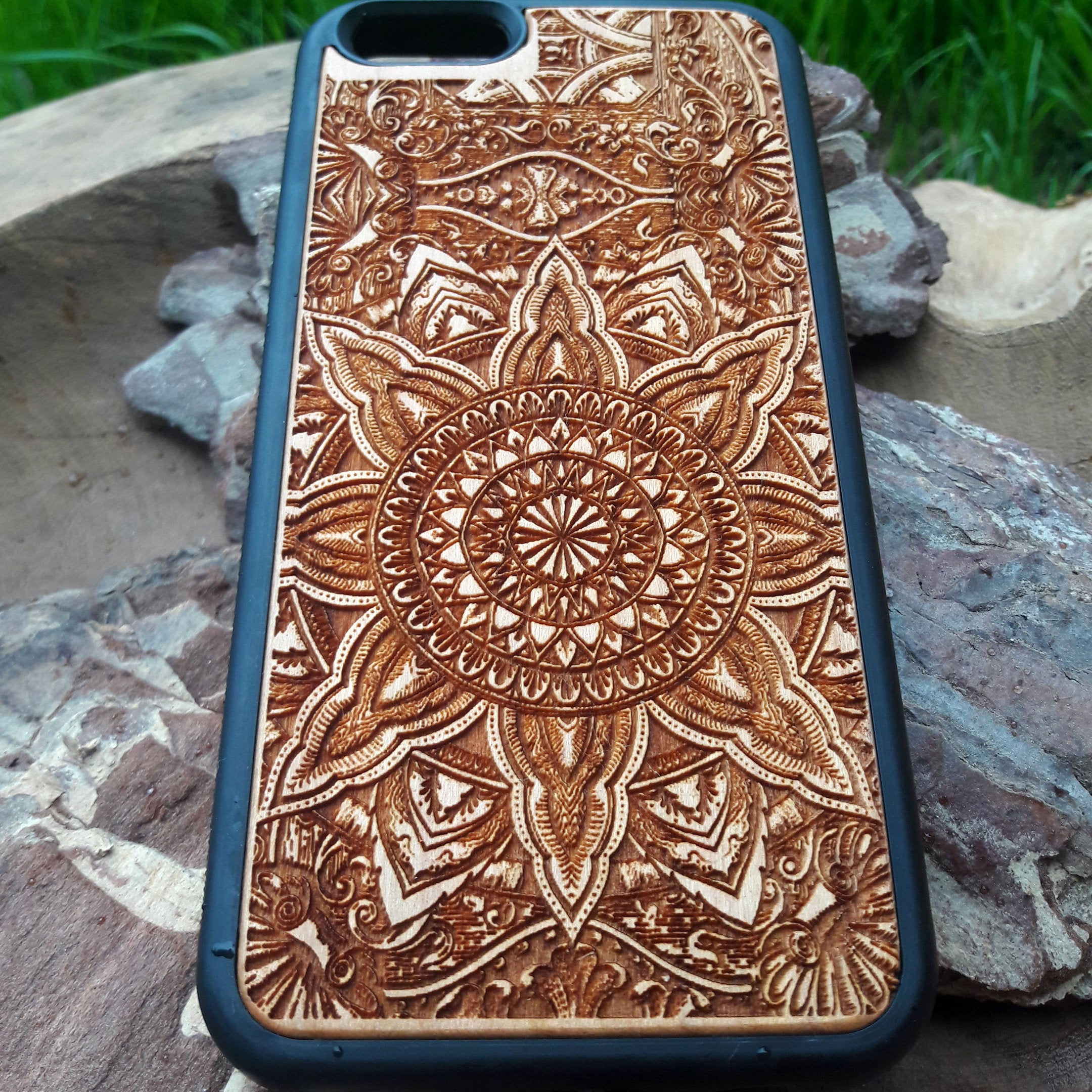 mandala wood phone case