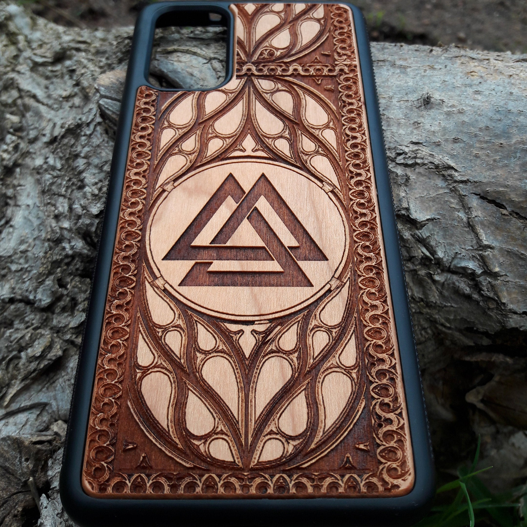 Viking Valknut Symbol Wood Phone Case