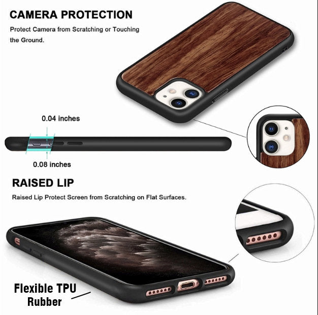 Personalized Phone Case for iPhone 11 Pro Max - Galaxy S20 Ultra Plus Wood Case - XS XR X 8 7 6 6S Plus - S10 S10e Note 9 10 - SE (2020)