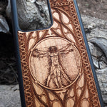 Load image into Gallery viewer, Vitruvian Man DaVinci Wood Phone Case