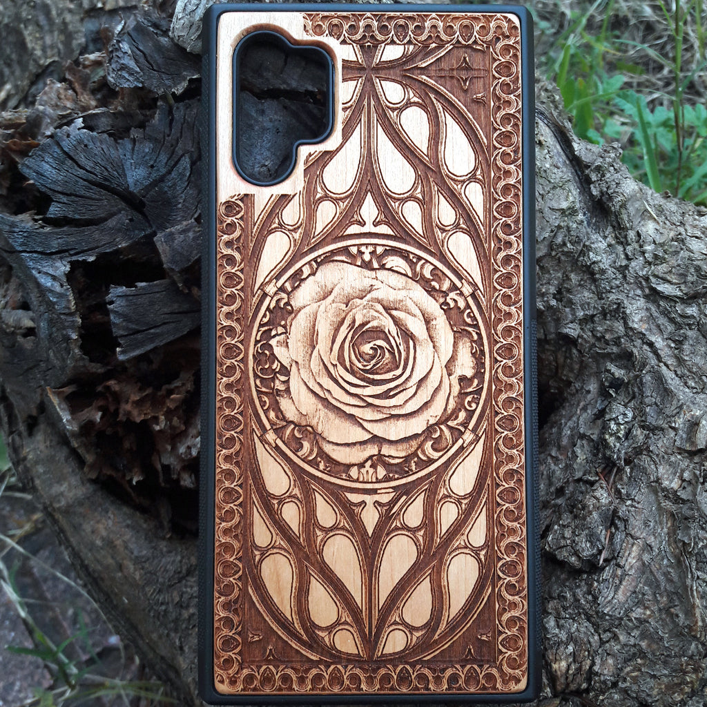 wooden rose phone case