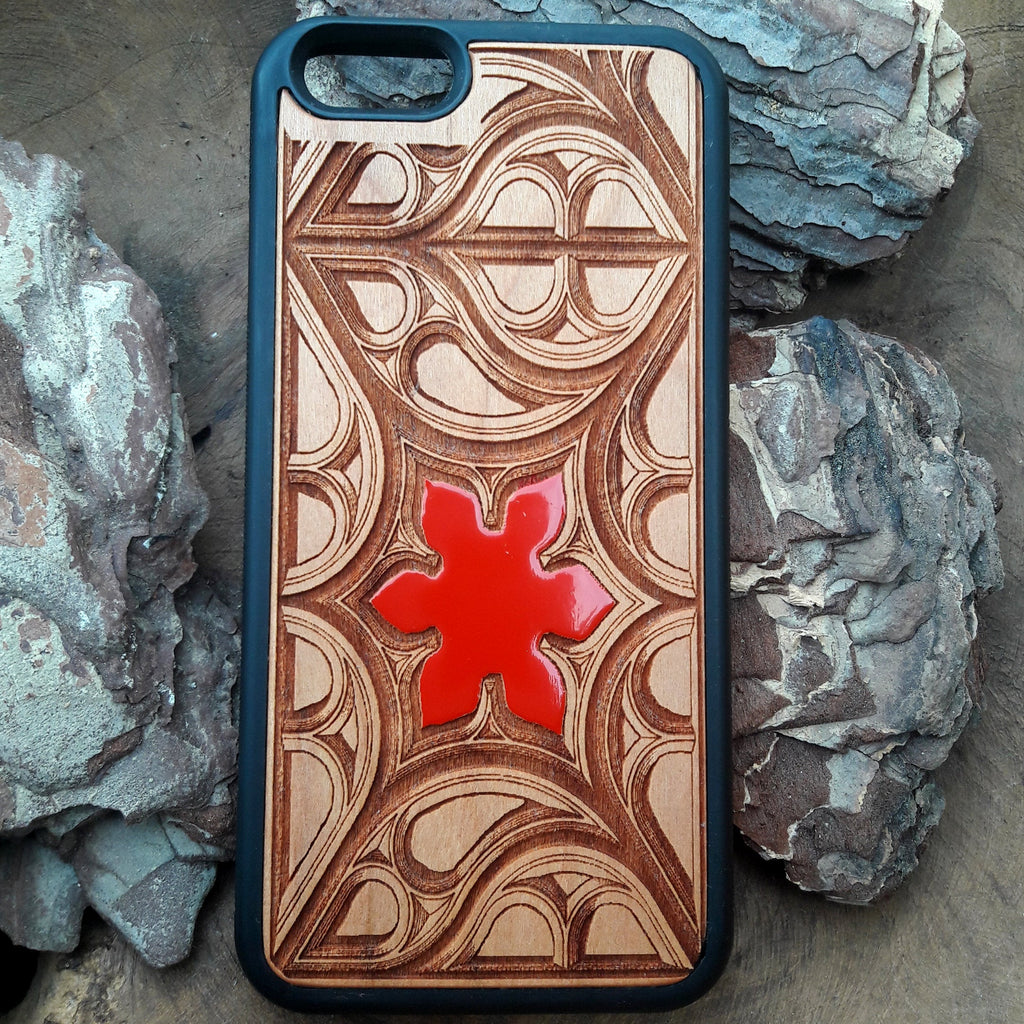 red Flower wood iPhone case