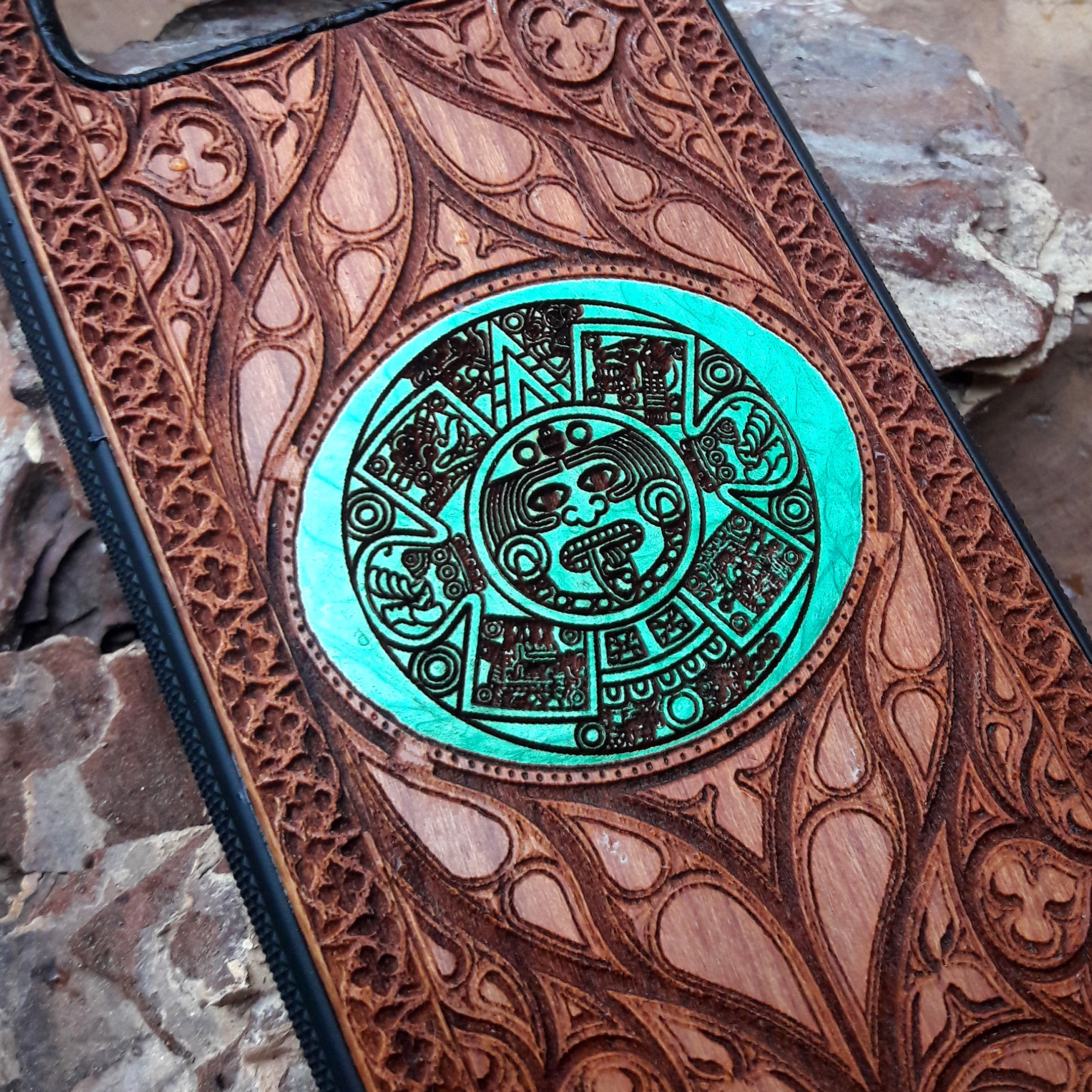 Aztec Calendar Wood Phone Case