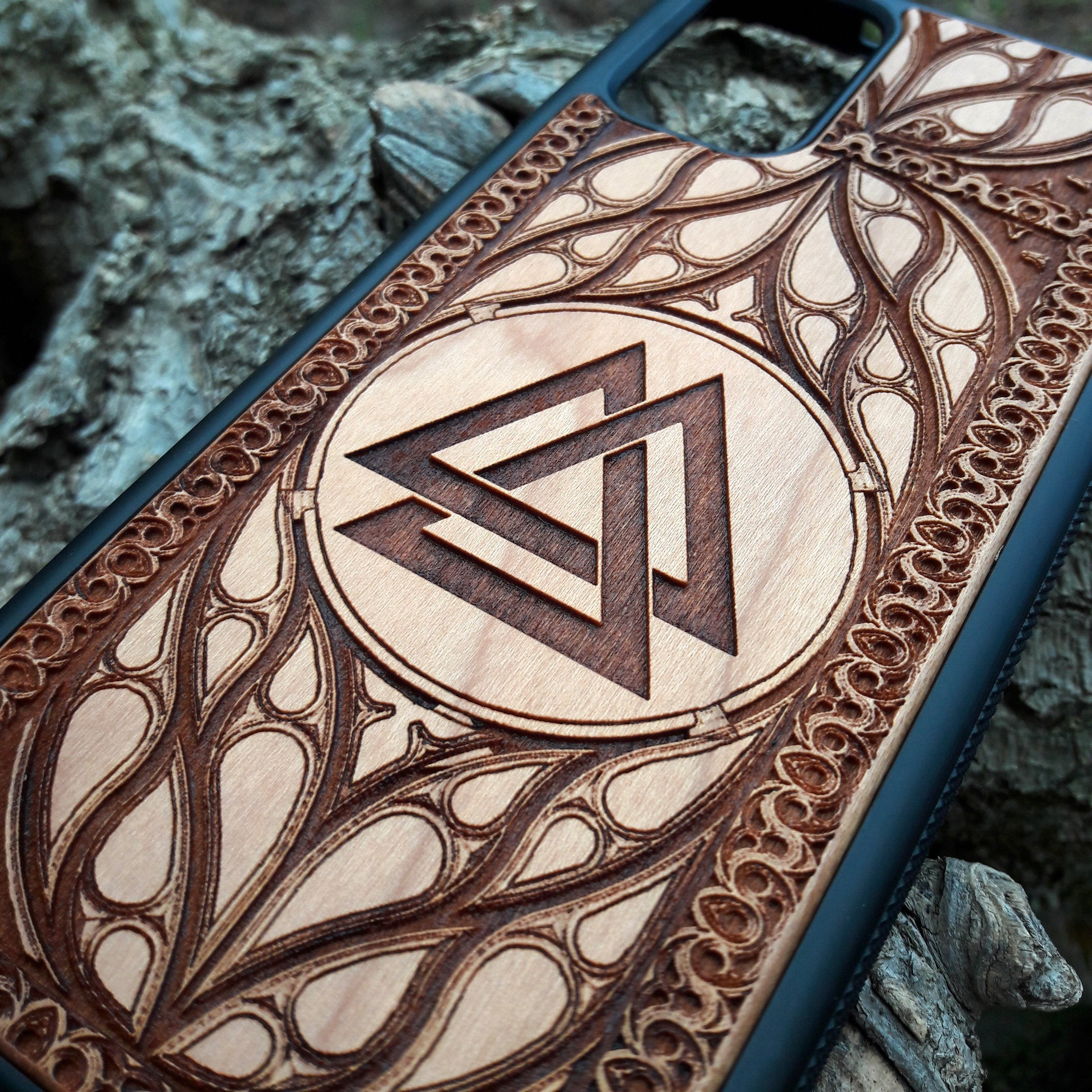 wood phone case Valknut Odin Norse God Viking Symbol