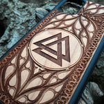 Load image into Gallery viewer, Viking Valknut Symbol Wood Phone Case