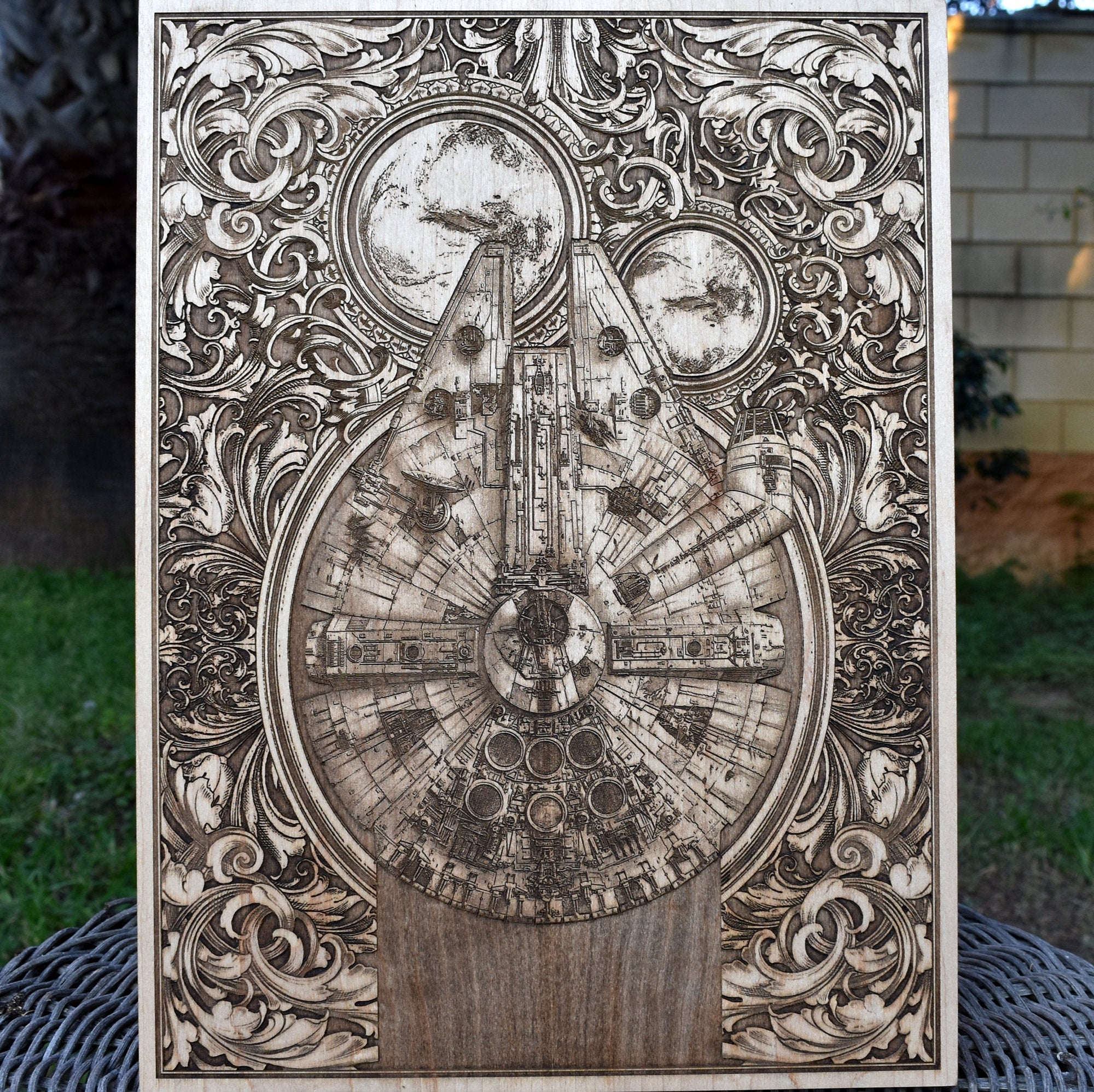 Star Wars Gift, Personalized Geek Gift For Him, Starwars Art Millennium Falcon, Wood Wall Art Laser Engraved - A3 Size