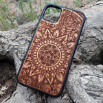 Load image into Gallery viewer, Aztec Calendar Mandala Wood Phone Case