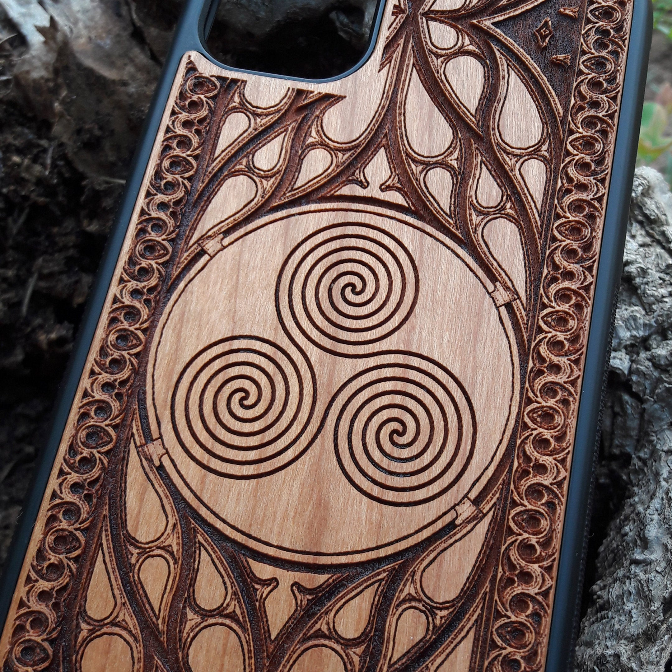 Triskelion Celtic Spiral Wood Phone Case