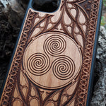 Load image into Gallery viewer, Triskelion Celtic Spiral Wood Phone Case
