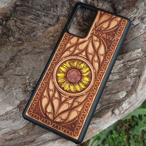 wooden phone cover sunflower