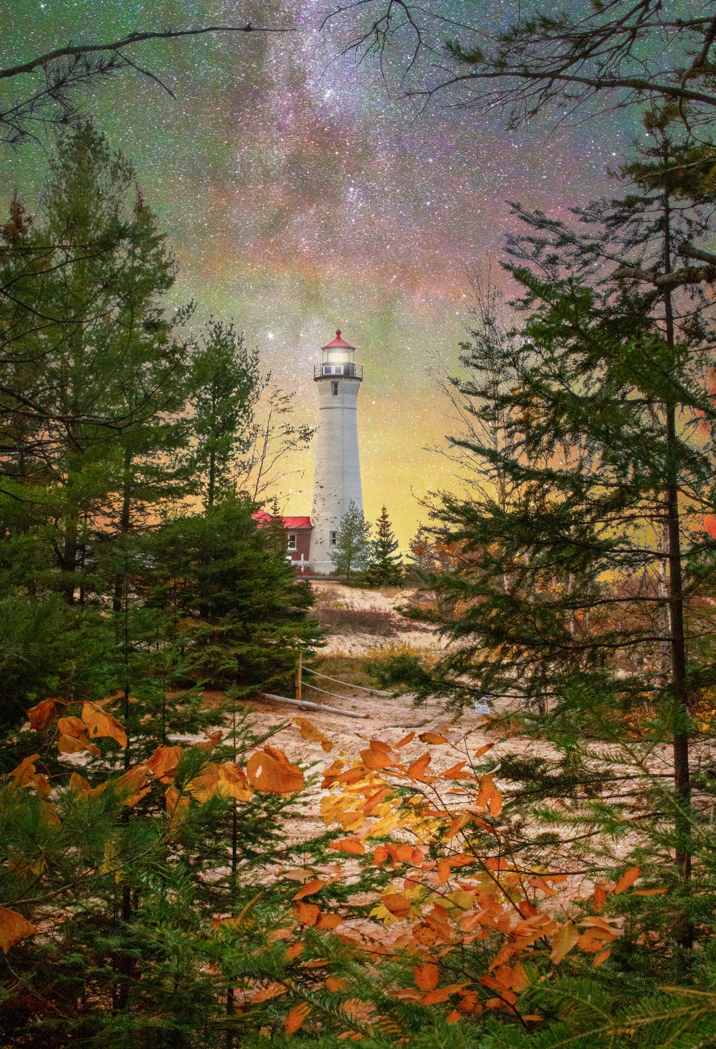 Crisp Point, fall, equinox, lighthouse, Milky Way, Michigan Milkyway