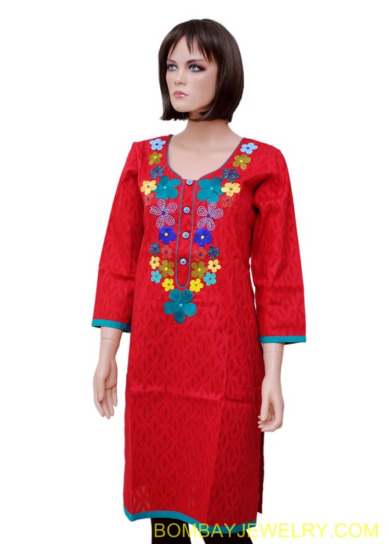 red kurti with multicolour work
