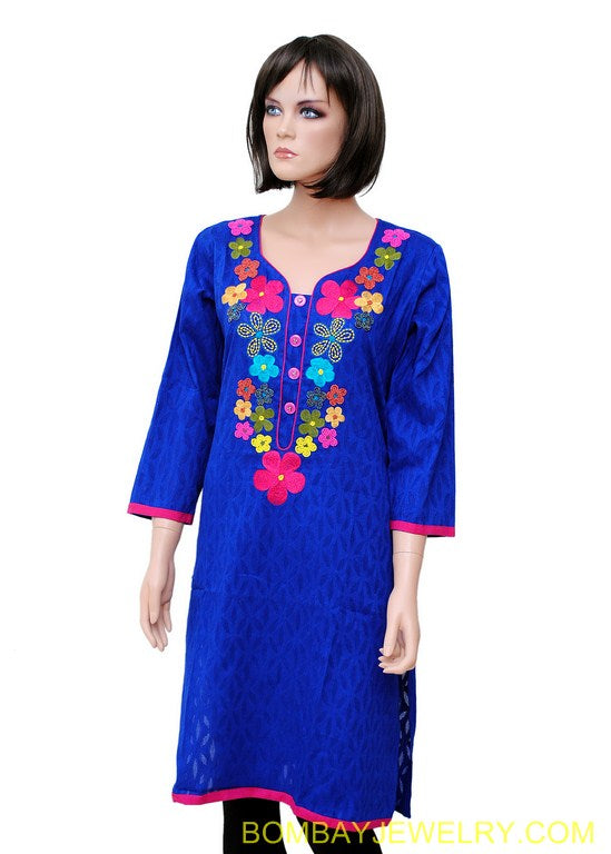 Blue kurti with multicolour work