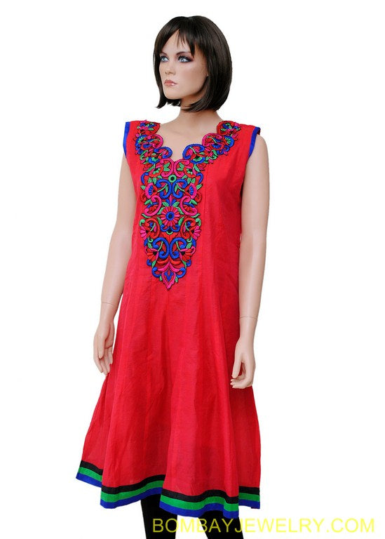 beautiful red with muticolour work long kurti