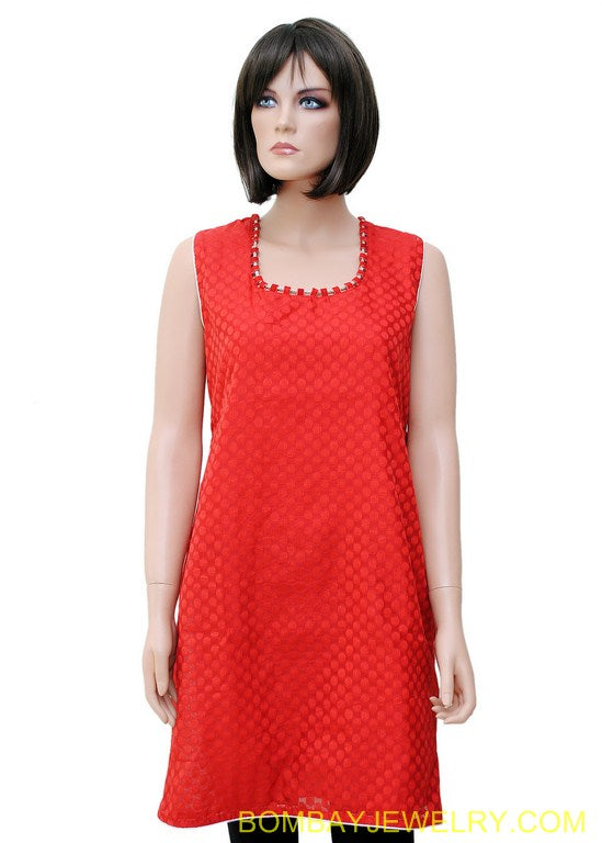 beautiful red brocket kurti