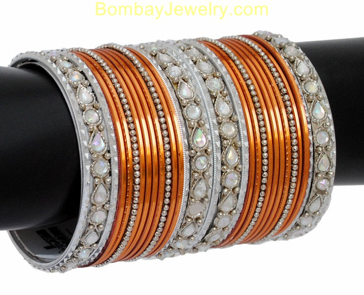Copper And silver Bangles With Kundan-XL