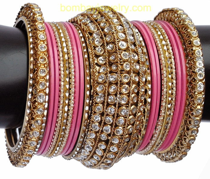 White Stone Studded pink And Golden Bangles-XL