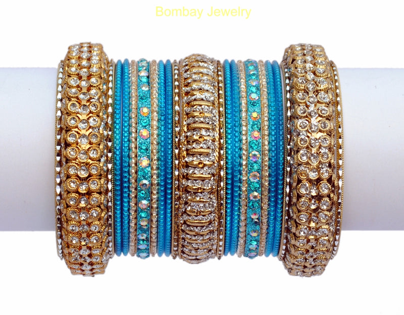 White Stone Studded AQUA BLUE And Golden Bangles-XL
