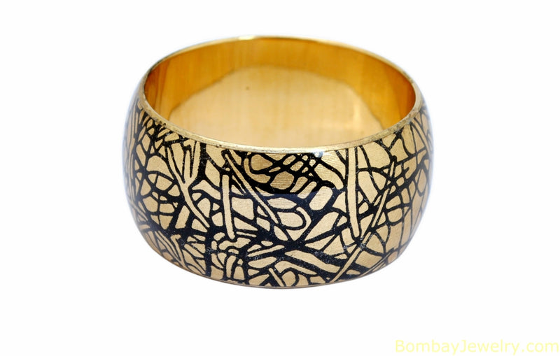 golden and black wood bangle- one size
