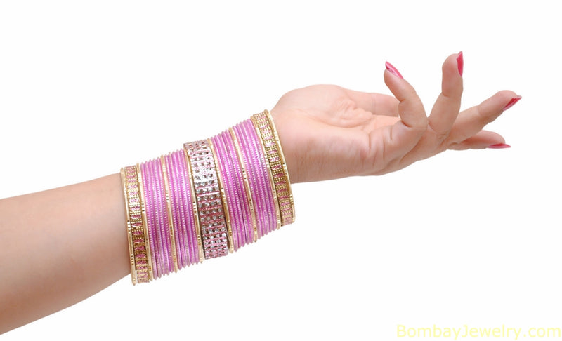 White Stone Studded pink And Golden Bangles-L