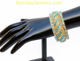 Goldplated BanglesSet Of 3 With Aqua Blue Stones-Small