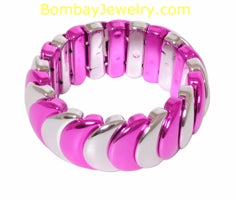 Fusicha Pink And Silver Fashion Bracelet